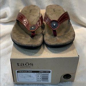 Taos Footwear Mirage Red Thong Sandals